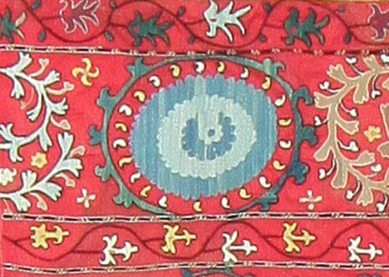 19th Century Antique Uzbek Suzani Embroidery Textile. Size: 6' x 8' 5