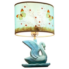 Antique Van Briggle Matte Blue Glazed Ceramic Swan Lamp Butterfly Shade