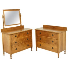 Antique Vanity, Antique Dresser, Beveled Mirror, Tiger Oak, Scotland 1930