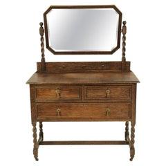 Antique Vanity, Antique Oak Dresser, Jacobean Revival, Tiger Oak, Scotland