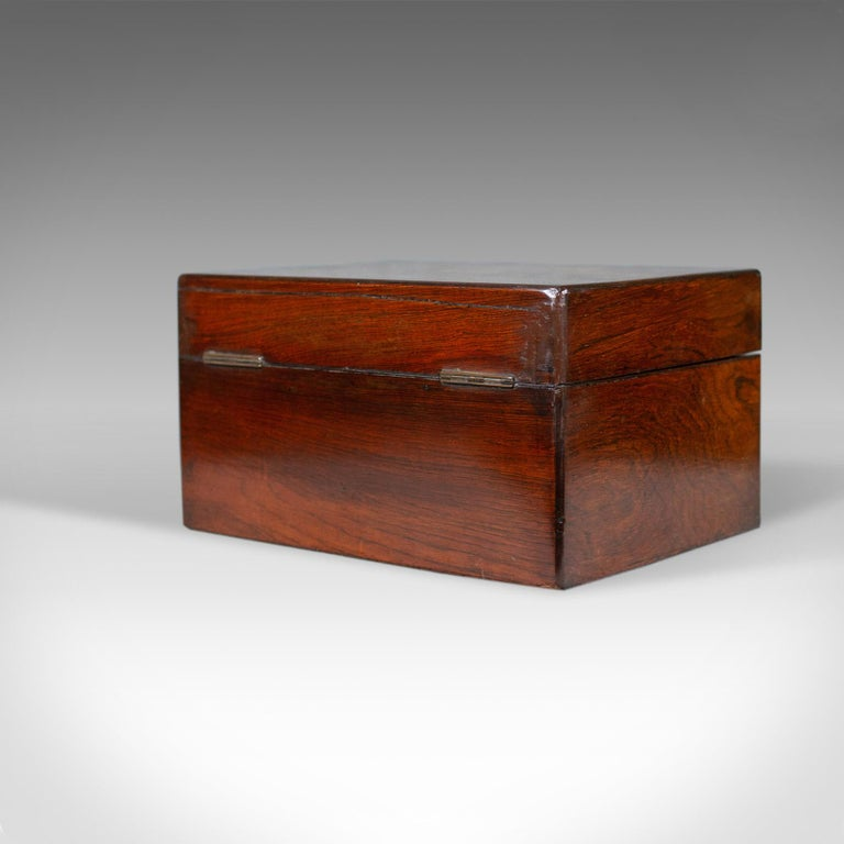 19th Century Antique Vanity Box, English, Victorian, Travelling Case, Rosewood, circa 1850 For Sale