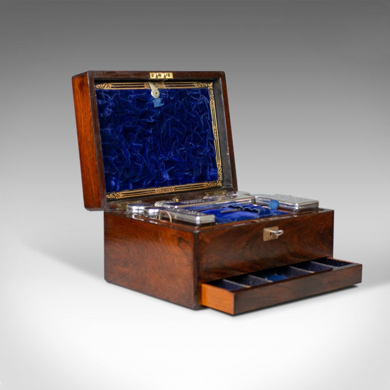 Antique Vanity Box, English, Victorian, Travelling Case, Rosewood, circa 1850 For Sale 1