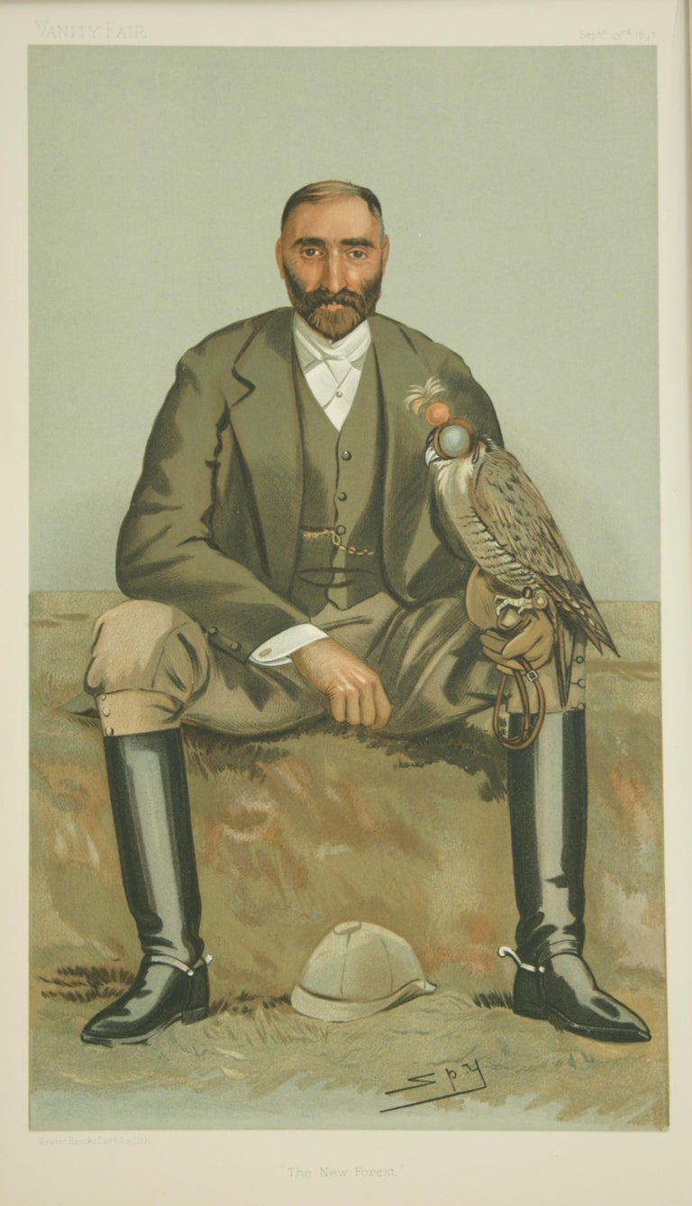 Vanity Fair 'SPY' Falconry print 'The New Forest'. A mounted chromolithograph print published Sept. 23rd, 1897, by Vincent Brooks, Day & Son Ltd. Lith., for Vanity Fair. The picture is titled 'The New Forest' and is an original print of The Hon.