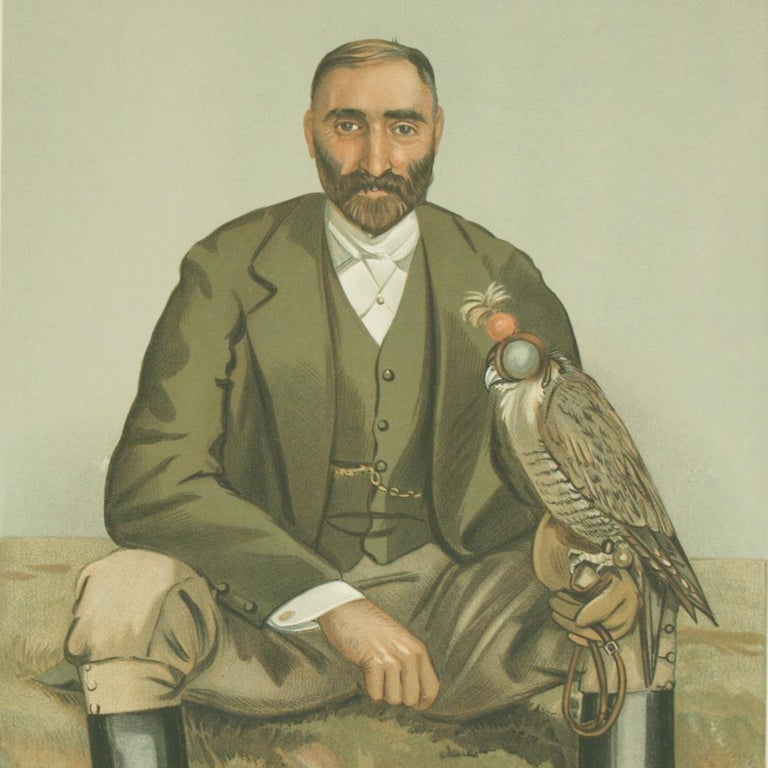 English Antique Vanity Fair Falconry Print 'The New Forest' For Sale