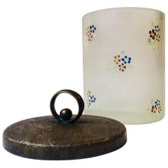 Antique Vanity Glass and Brass Lidded Jar with Flowers from Holmegaard, 1890s