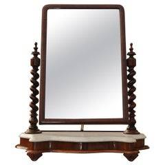 Antique Vanity Mirror, English Marble & Mahogany with Barley Twist Supports