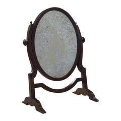 Antique Vanity Mirror, English, Oak, Mahogany, Dresser, Regency, circa 1820