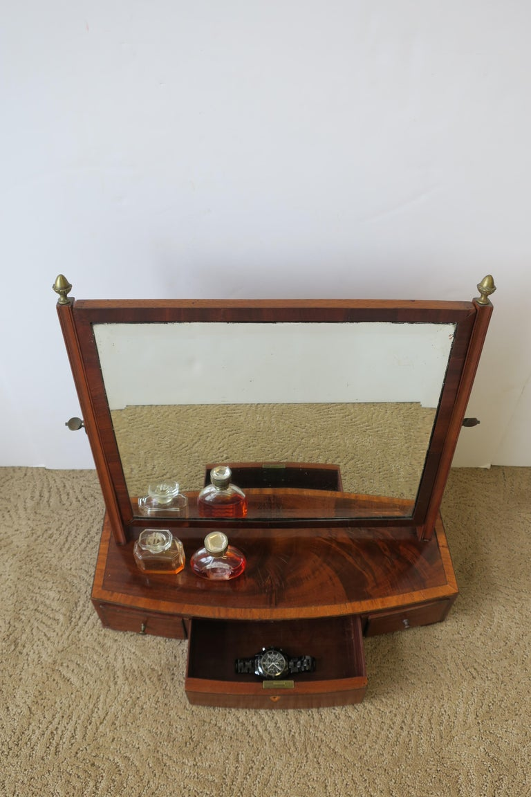 European Antique Vanity Mirror with Drawers For Sale