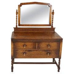 Antique Vanity, Tiger Oak, Barley Twist, With Mirror, Scotland 1920, B2530
