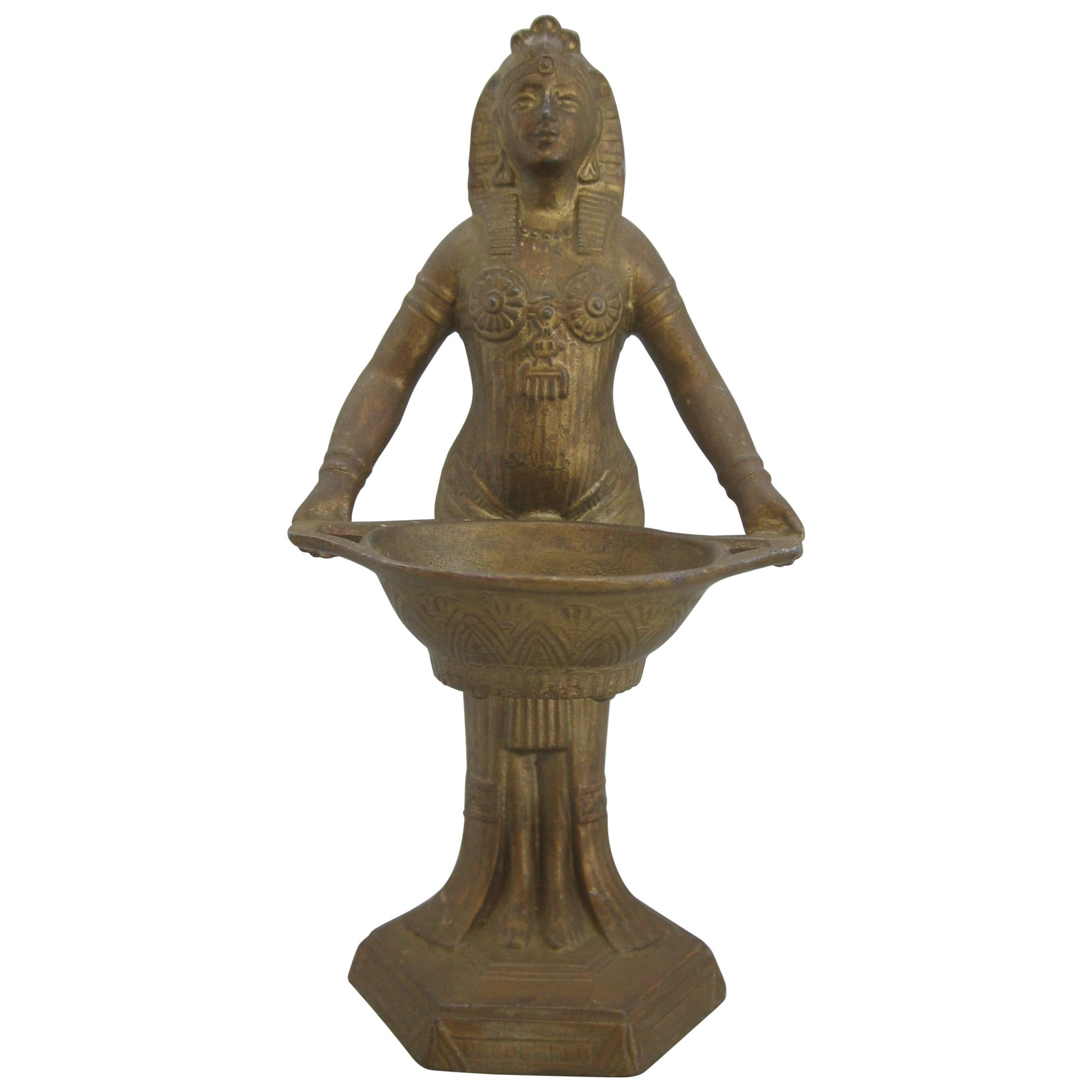 Antique Vantines French Art Deco Egyptian Revival Figural Metal Incense Burner