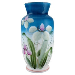 Antique Vase in Mouth-Blown Opal Art Glass with Hand-Painted Flowers and Foliage