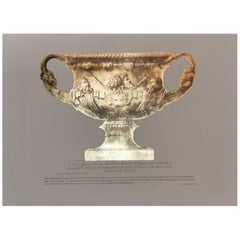 Antique Vase Print Handmade in Italy with Press Engraving on Pure Gold Leaf