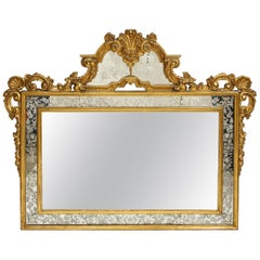 Antique Venetian 19th Century Giltwood Hand-Etched and Hand-Engraved Mirror