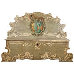 Antique Venetian Baroque Carved and Painted Bench