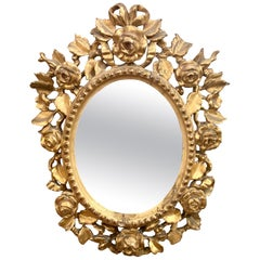 Antique Venetian Carved Wood Oval Mirror, circa 1890-1910