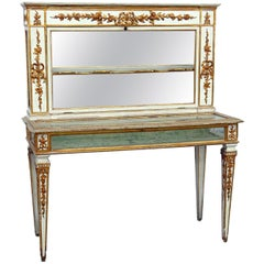 Antique Painted and Gilded Italian Venetian Gilded Jewelry Display Case C1880s