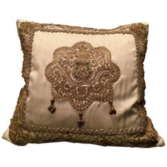 Antique Venetian Embroidery Pillow by Eleganza Italiana