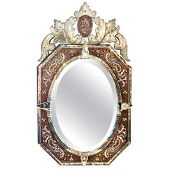 Antique Venetian Enameled Mirror