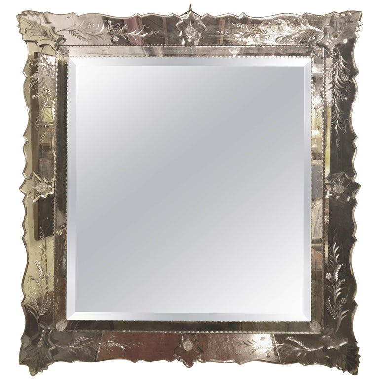Antique Venetian Etched Glass Wall or Console Mirror For Sale