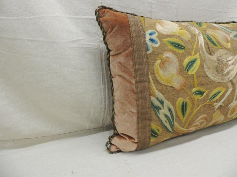 Antique Venetian floral embroidered large bolster decorative pillow.