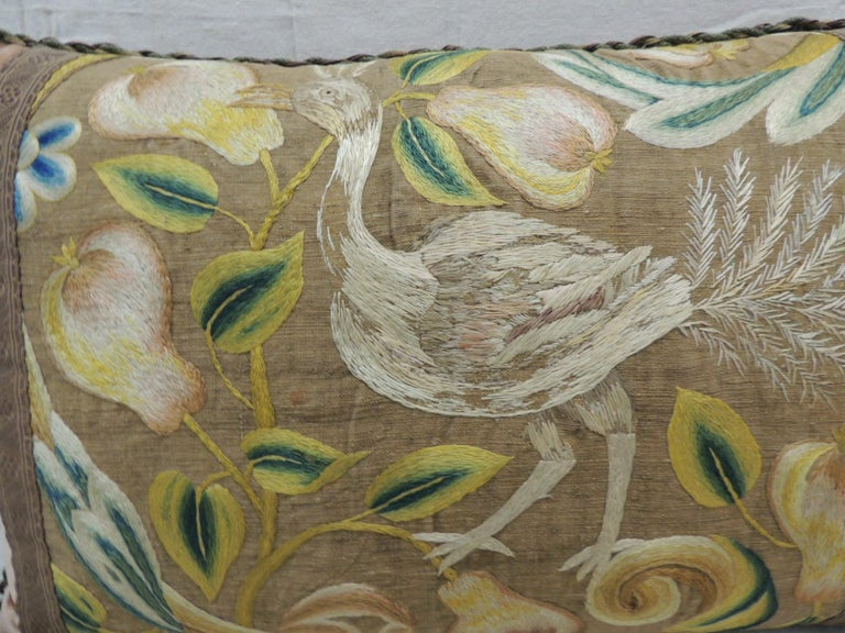 Baroque Antique Venetian Floral and Bird Embroidered Large Bolster Decorative Pillow For Sale