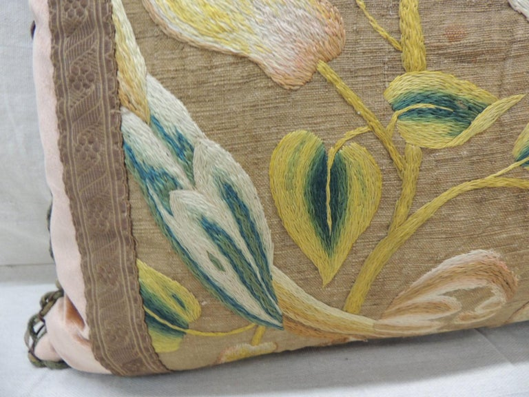 Italian Antique Venetian Floral and Bird Embroidered Large Bolster Decorative Pillow For Sale