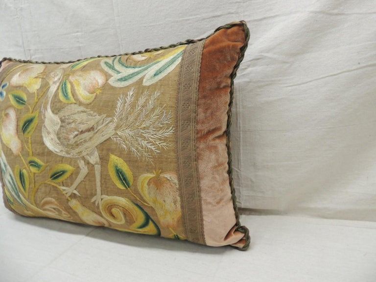 Hand-Crafted Antique Venetian Floral and Bird Embroidered Large Bolster Decorative Pillow For Sale