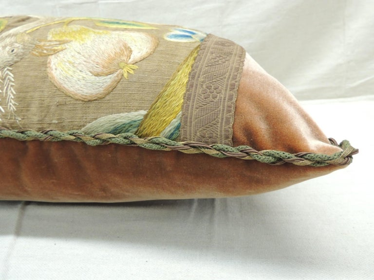 19th Century Antique Venetian Floral and Bird Embroidered Large Bolster Decorative Pillow For Sale