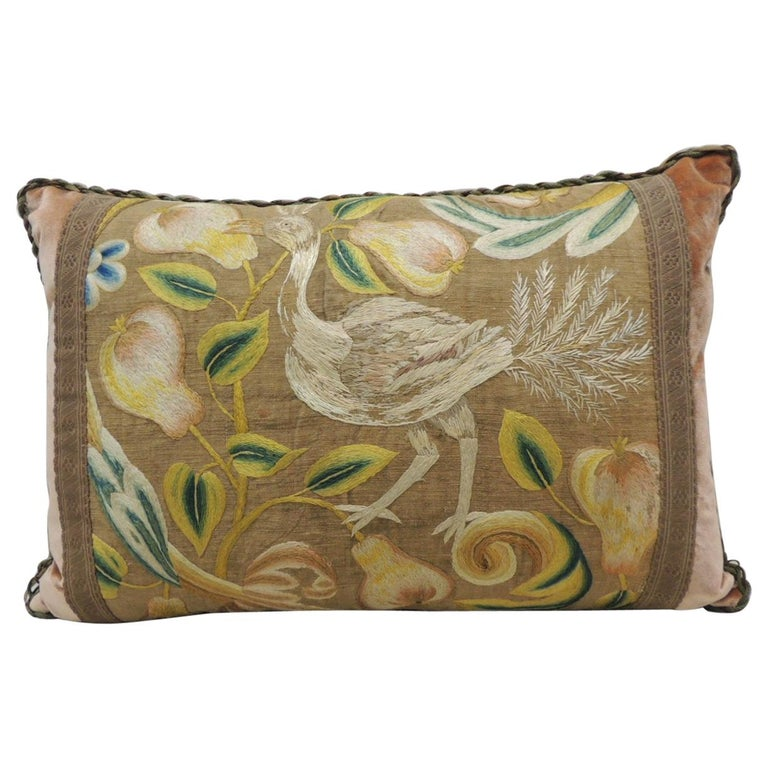Antique Venetian Floral and Bird Embroidered Large Bolster Decorative Pillow For Sale