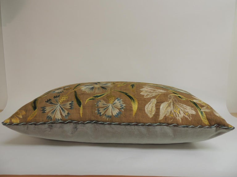 Antique Venetian Floral Embroidered Large Bolster Decorative Pillow In Good Condition For Sale In Fort Lauderdale, FL