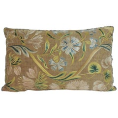 Antique Venetian Floral Embroidered Large Bolster Decorative Pillow