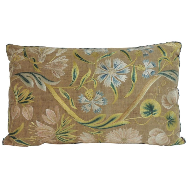 Antique Venetian Floral Embroidered Large Bolster Decorative Pillow For Sale