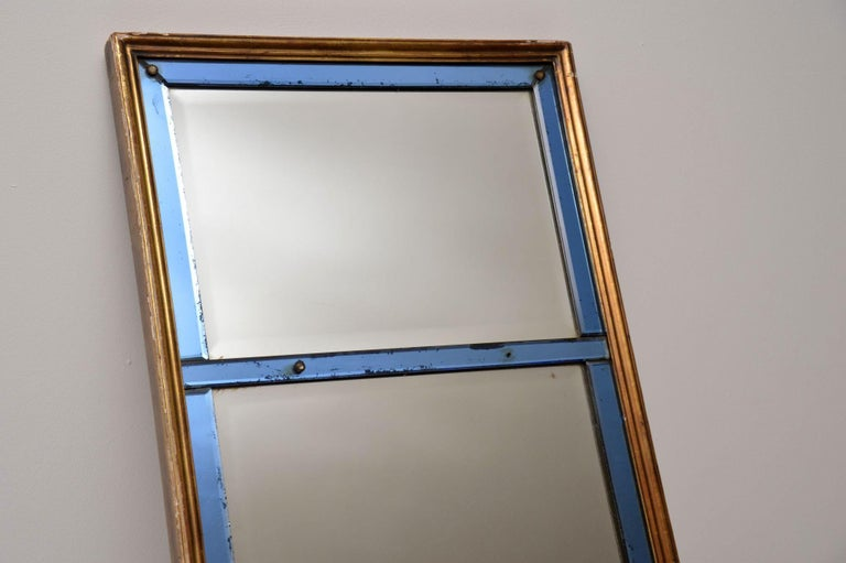 Late Victorian Antique Venetian Giltwood Colored Glass Mirror For Sale