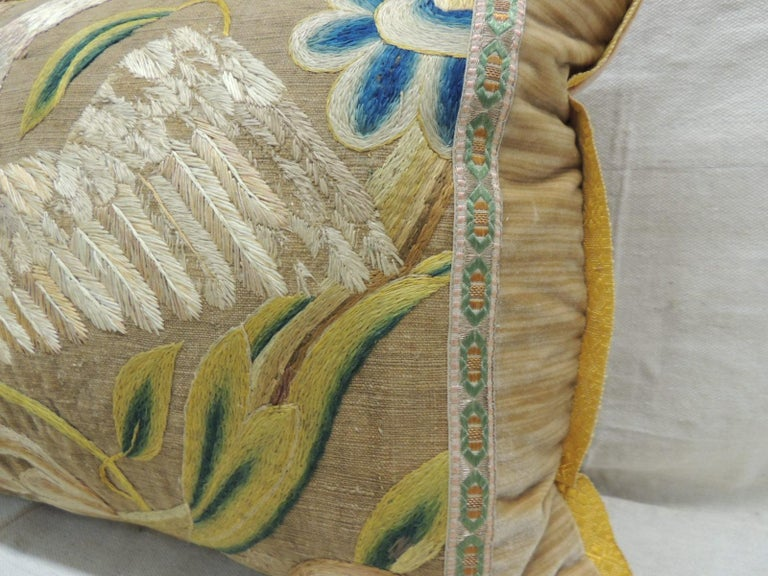 Baroque Antique Venetian Gold and Green Floral Embroidered Bolster Decorative Pillow For Sale
