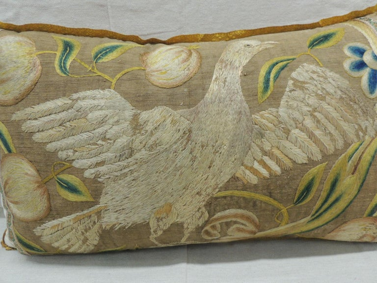 Italian Antique Venetian Gold and Green Floral Embroidered Bolster Decorative Pillow For Sale
