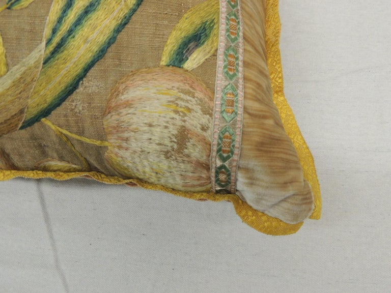 Hand-Crafted Antique Venetian Gold and Green Floral Embroidered Bolster Decorative Pillow For Sale
