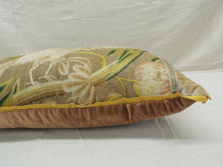 Antique Venetian Gold and Green Floral Embroidered Bolster Decorative Pillow In Good Condition For Sale In Wilton Manors, FL