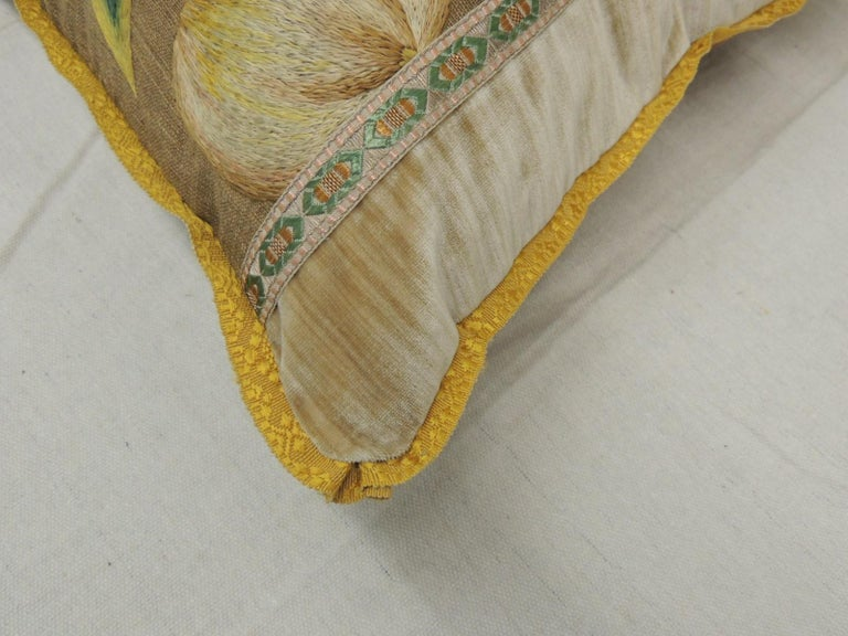 19th Century Antique Venetian Gold and Green Floral Embroidered Bolster Decorative Pillow For Sale