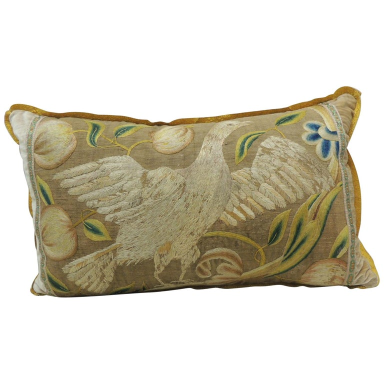 Antique Venetian Gold and Green Floral Embroidered Bolster Decorative Pillow For Sale