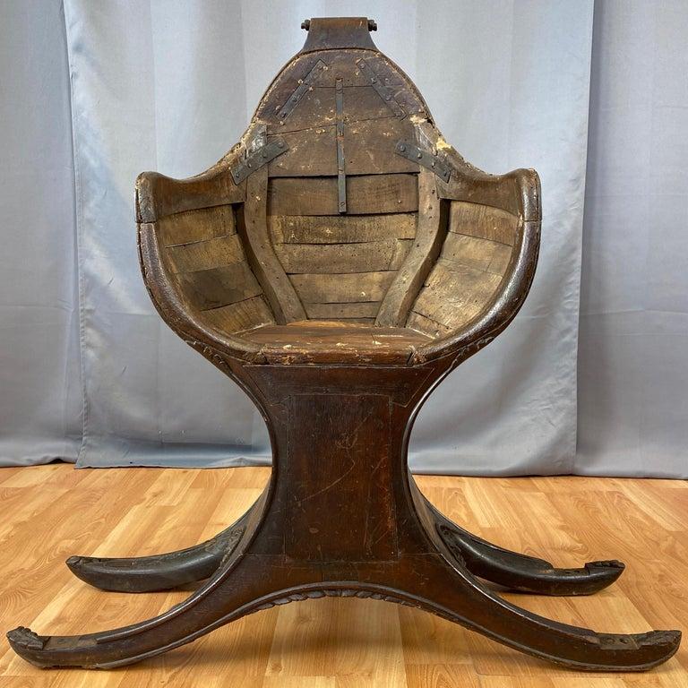 Italian Antique Venetian Gondola Chair, 18th C. For Sale