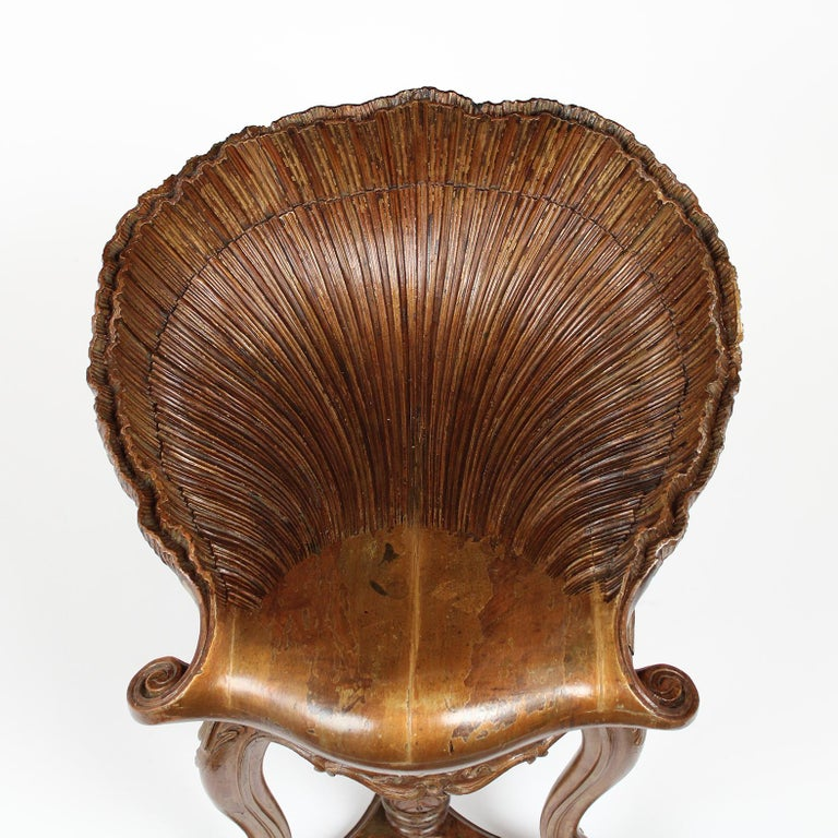 Hand-Carved Antique Venetian Grotto Style Piano Stool For Sale
