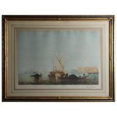 Antique Venetian Harbor Scene Print after Pierre Lahorche, Pencil Signed