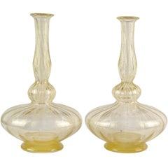Antique Venetian Murano Gold Flecks Art Glass Pleated Genie Bottle Vases