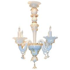 Antique Venetian Opalescent Glass Chandelier, circa 1920