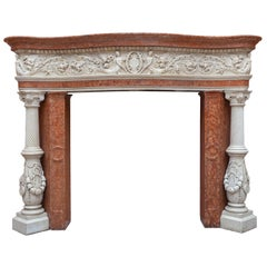 Antique Venetian Renaissance Marble Mantel