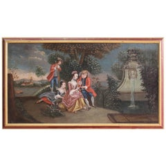 Antique Venetian Romantic Landscape Painting from the 19th Century