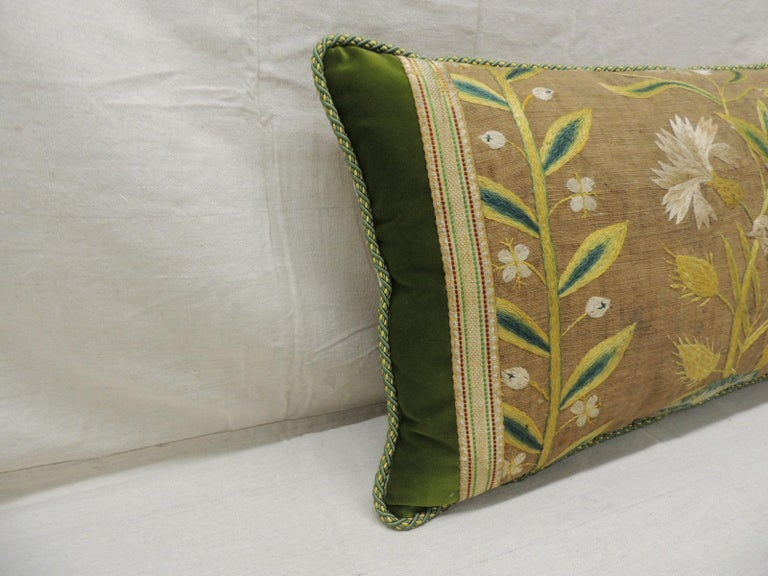 Antique Venetian yellow and green floral embroidered bolster decorative pillow.