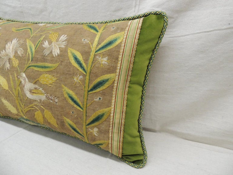 Italian Antique Venetian Yellow and Green Floral Embroidered Bolster Decorative Pillow For Sale