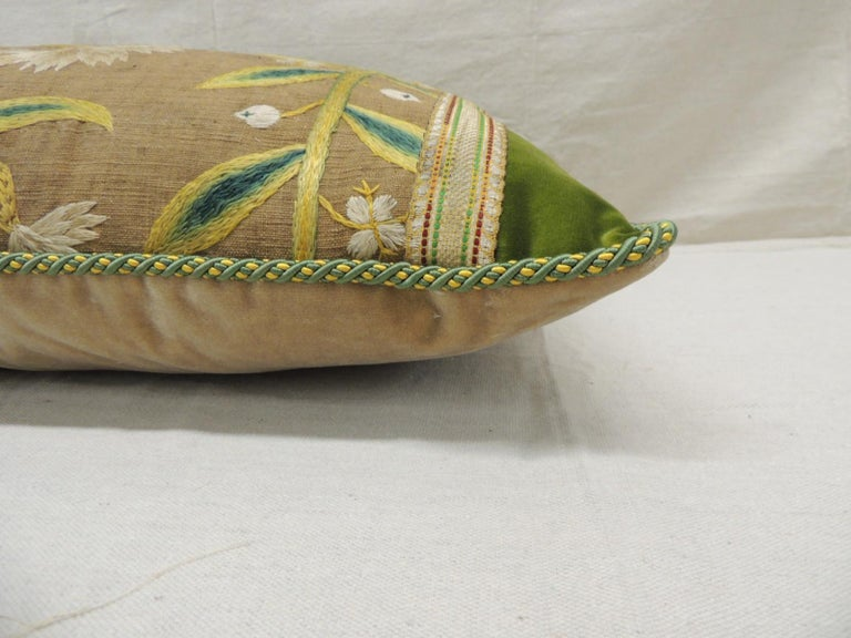 Hand-Crafted Antique Venetian Yellow and Green Floral Embroidered Bolster Decorative Pillow For Sale