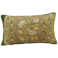 Antique Venetian Yellow and Green Floral Embroidered Bolster Decorative Pillow